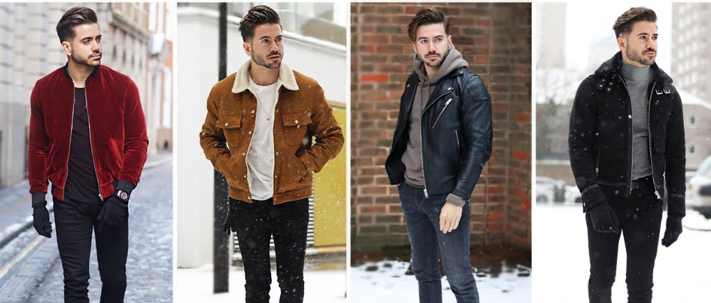 Hombre con distintos atuendos de invierno.
